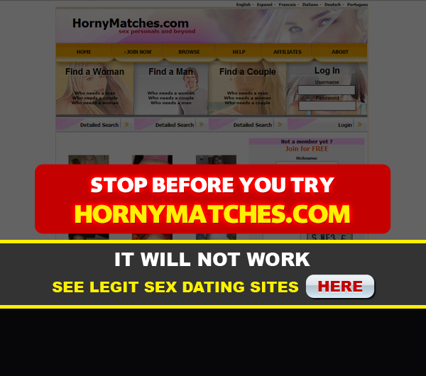 hornymatches.com front page
